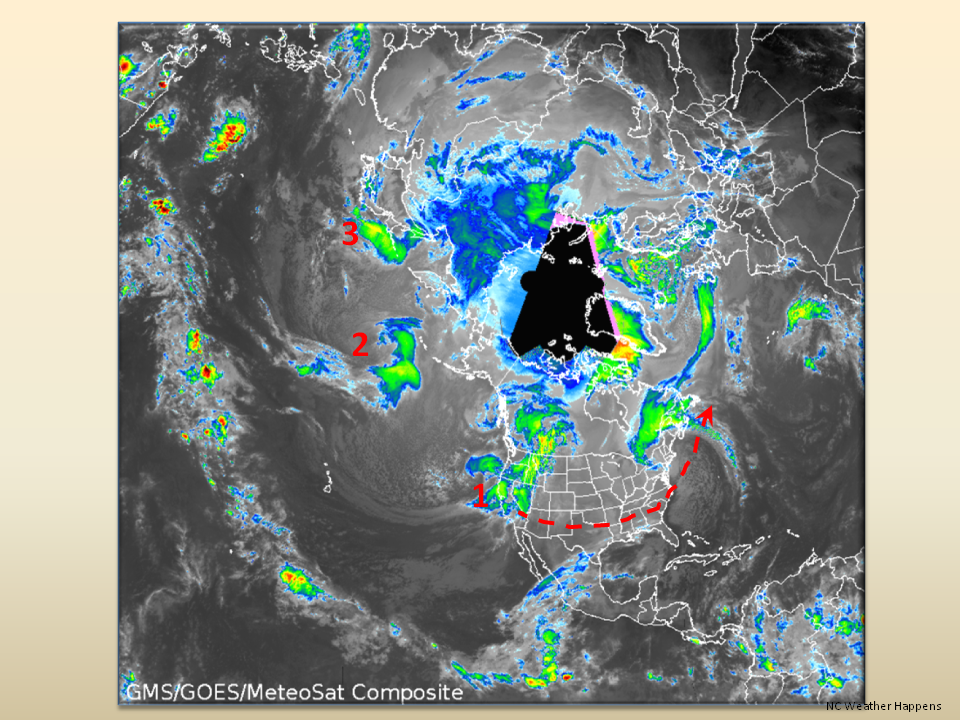 Polar view of North America with Enhanced Water Vapor Satellite Data