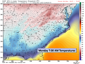 Monday Morning Temps are right near freezing