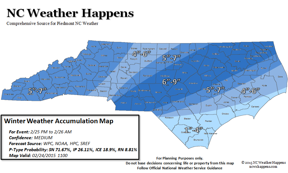 NC Weather Happens Accumulation map for Thursday Morning.