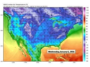 Canadian Low temps for Wednesday